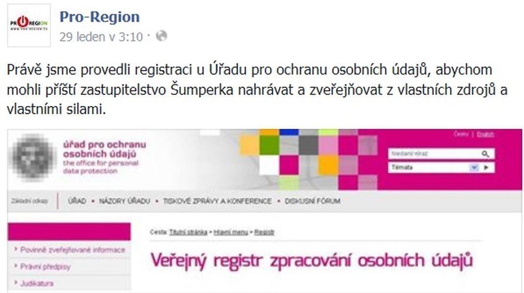informace opozičního seskupení zdroj: PRO-REGION