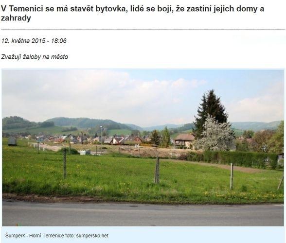 o petici obyvatel Horní Temenice jsme informovali zdroj: sumpersko.net
