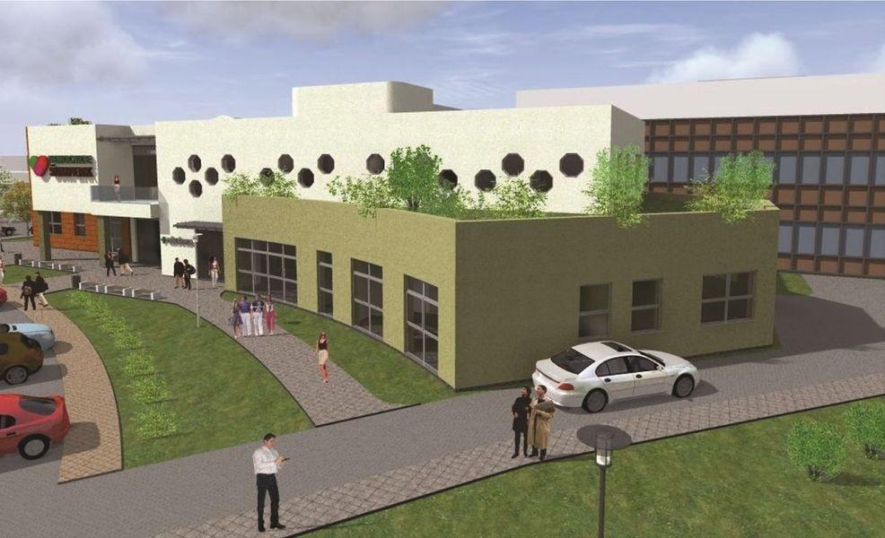 vizualizace - nový hlavní vstup do nemocnice zdroj: Architektonická kancelář manželů Petrovových