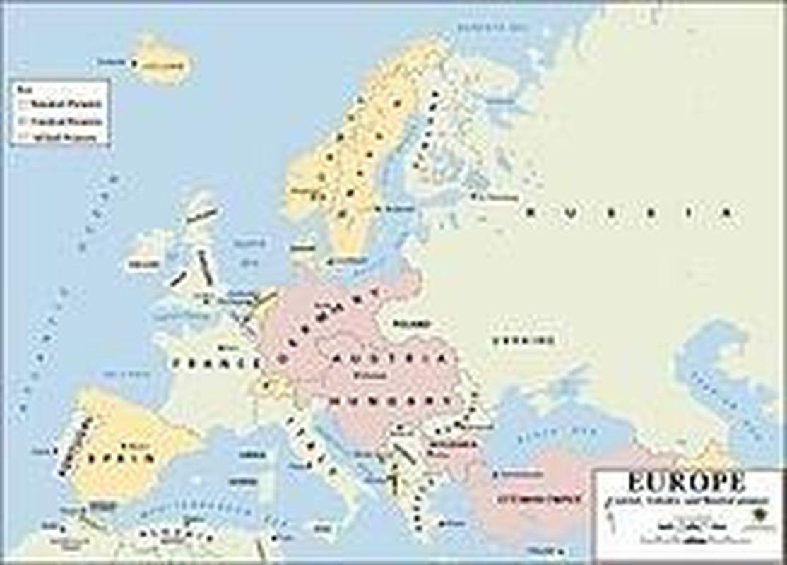 politická mapa Evropy v roce 1914