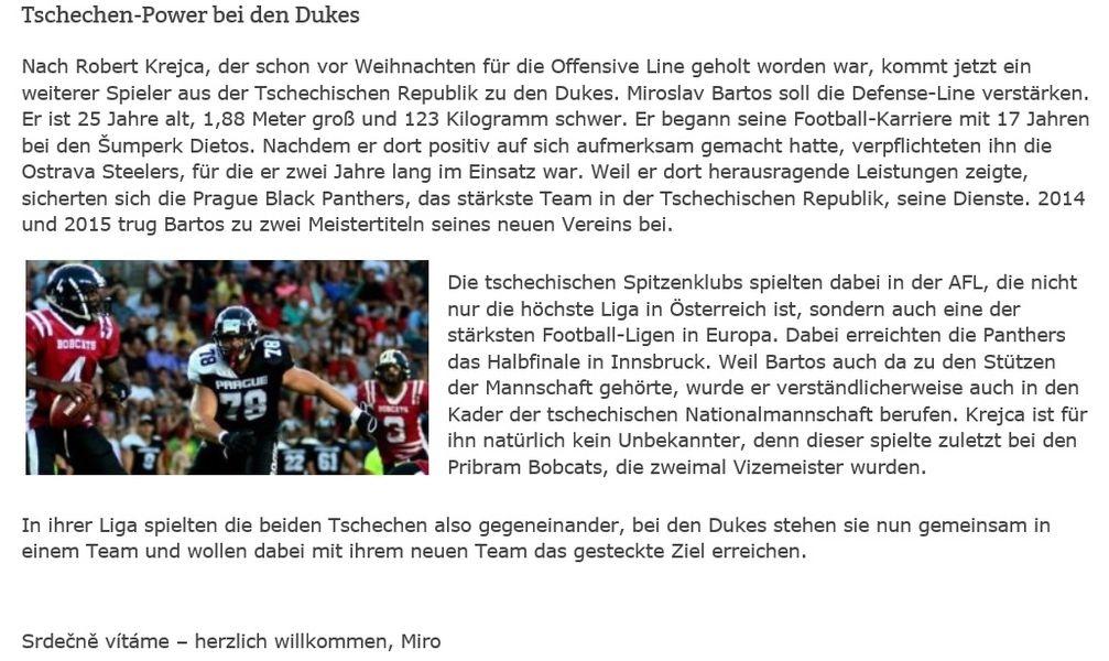 Německý klub již také oficiálně i prostřednictvím svého webu velmi sympaticky oznámil příchod nového člena týmu zdroj: FB