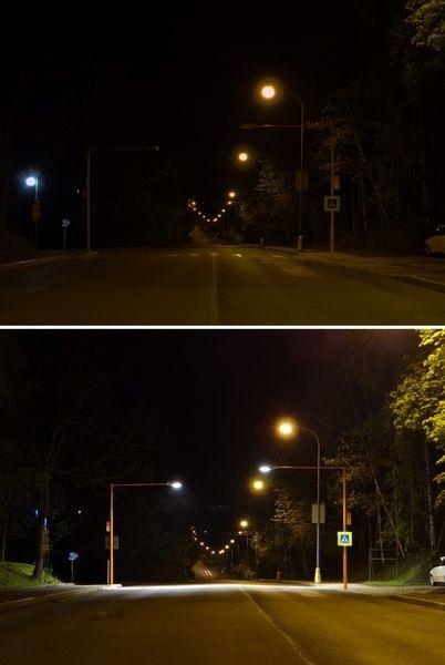 Oranžový přechod - za tmy (nahoře) a po rozsvícení nového osvětlení zdroj foto: archivenĂ (dole)