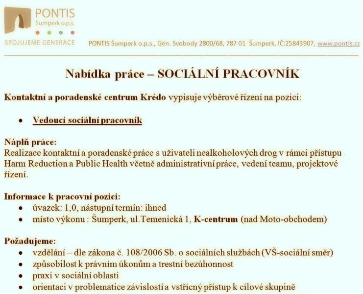 Pontis - nabídka práce - SOCIÁLNÍ PRACOVNÍK
