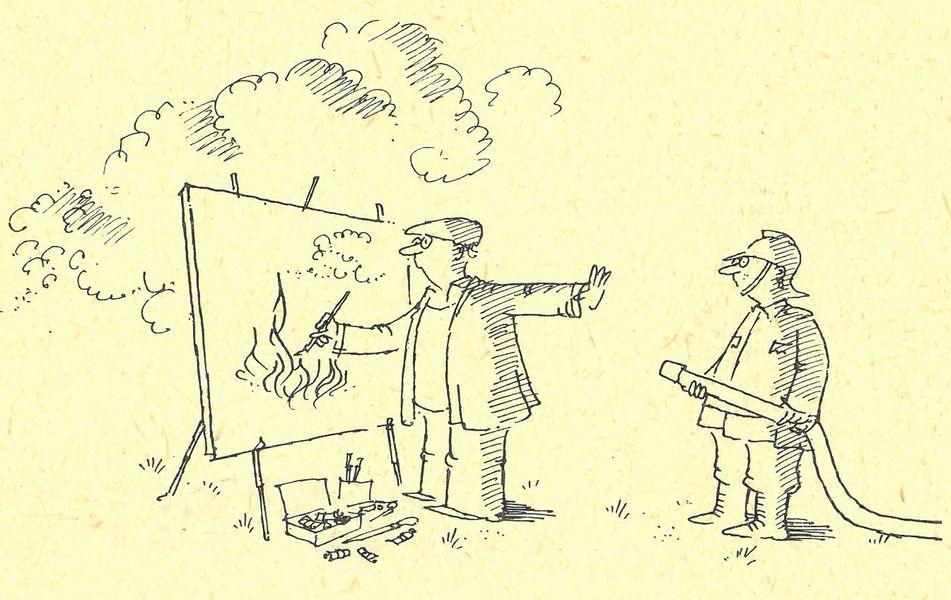 Startuje soutěž o nejlepší hasičský kreslený vtip autor: Vladimír Renčín - zdroj: HZS ČR