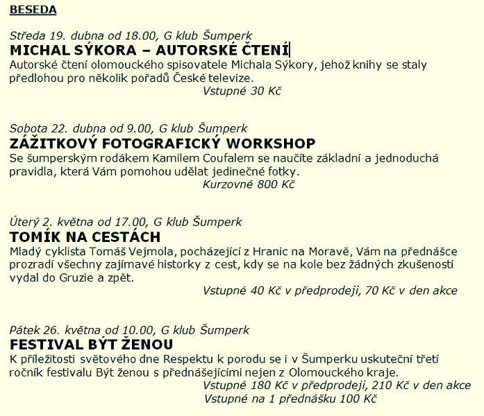 program - ŠPEK - přehlídka umění Olomouckého kraje zdroj: d.k.