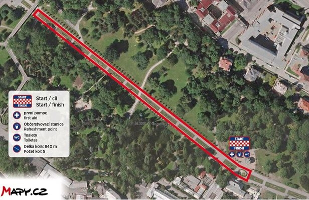 Juniorský maraton - Olomoucký kraj - mapa zdroj:RunCzech