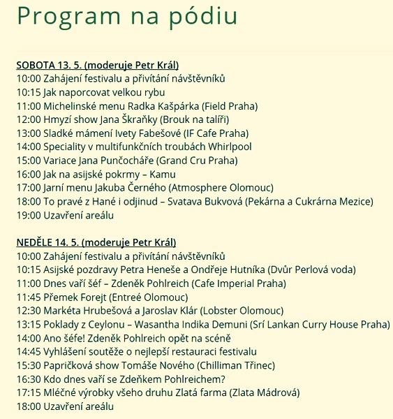 program na podiu Olomouc 13. - 14. května zdroj: GFF Olomouc