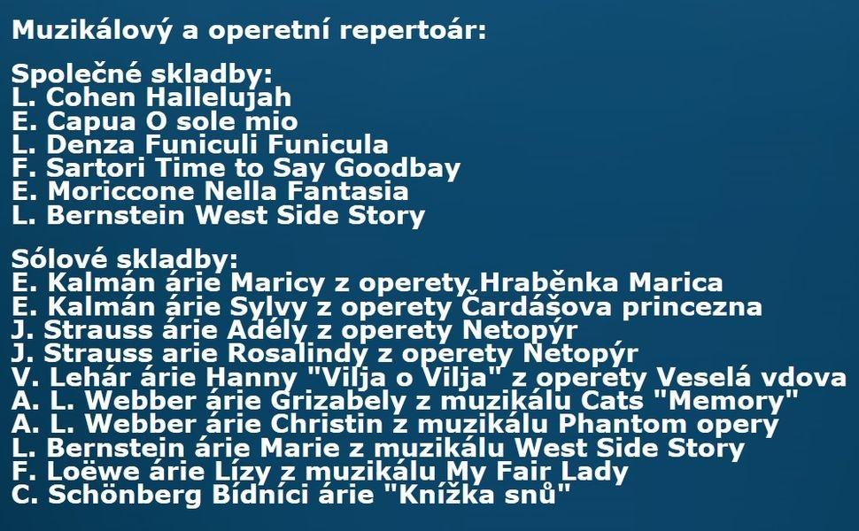 Muzikálový a operetní repertoár zdroj: DK