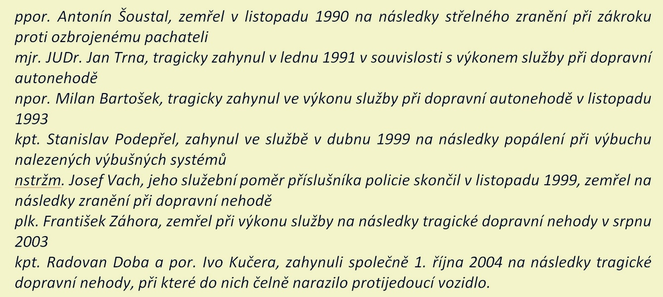 Na pomníku mají vytesáno své jméno tito policisté zdroj: PČR