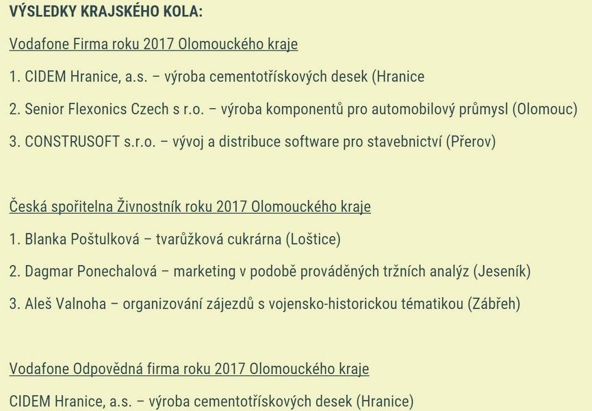 výsledky krajského kola zdroj: Olk
