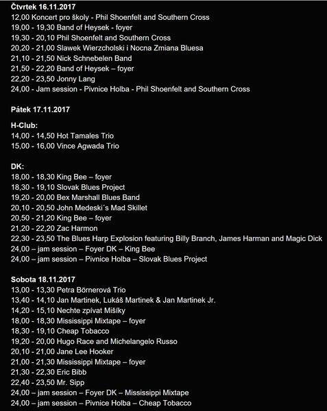 Blues Alive 2017 - program zdroj: BA
