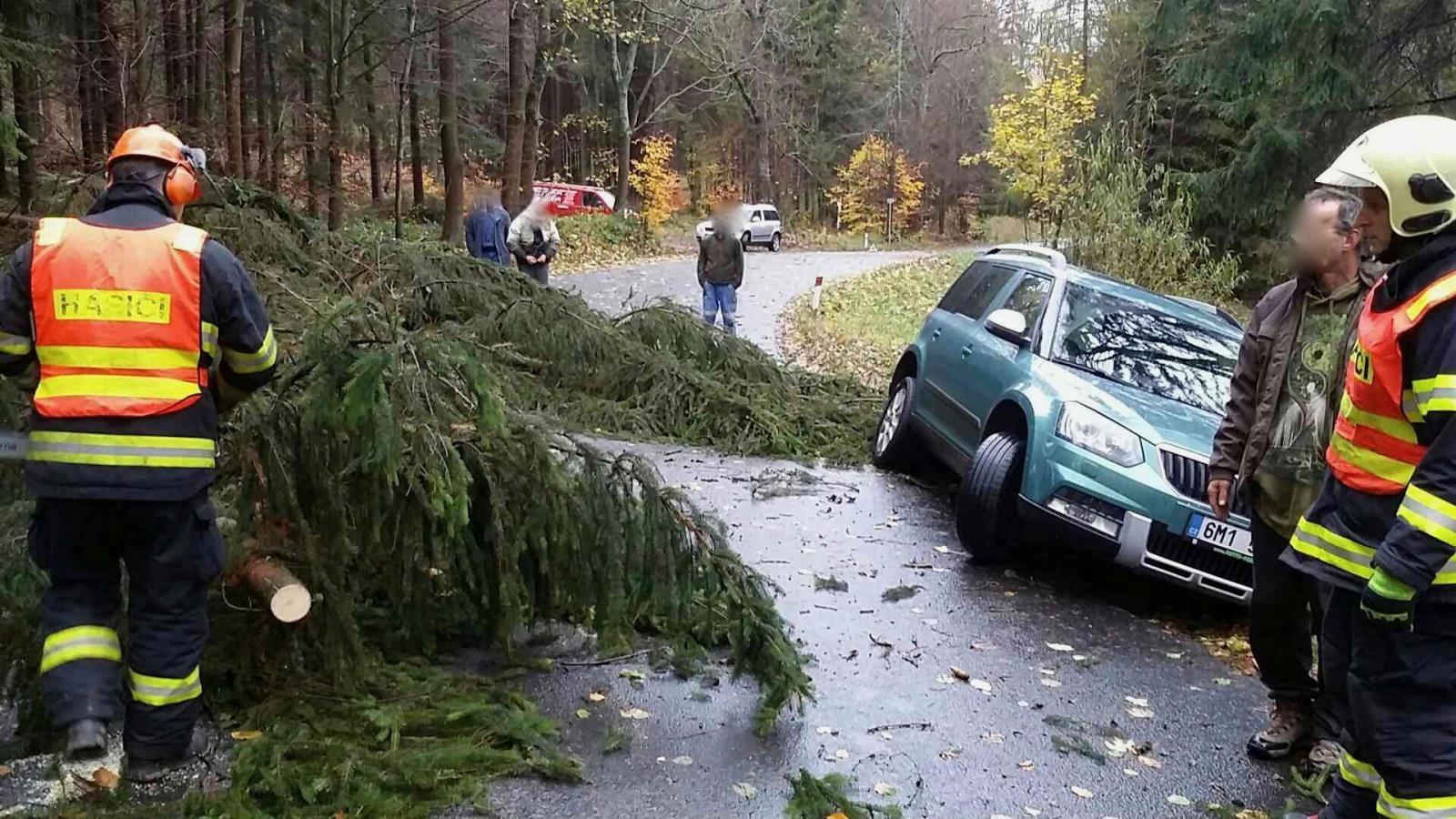 pád stromu na auto zdroj foto: HZS Olk
