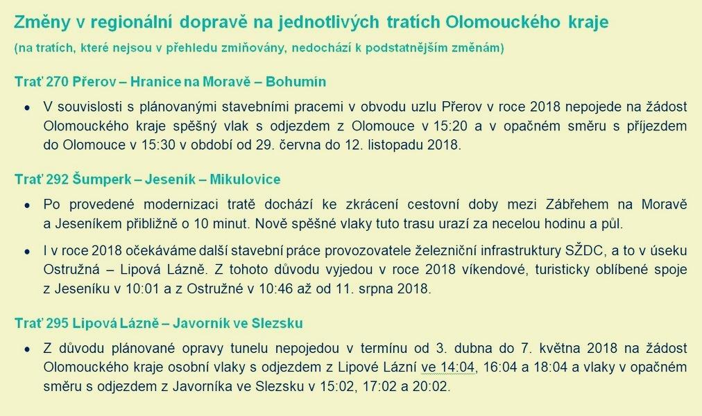 novinky v jizdním řádu zdroj: ČD