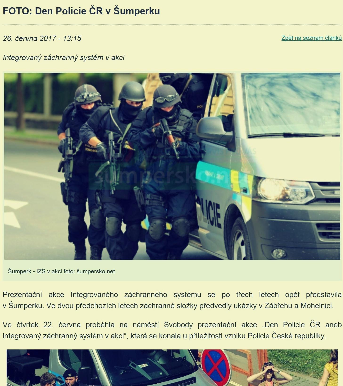 šumpersko.net - zveřejněná zpráva