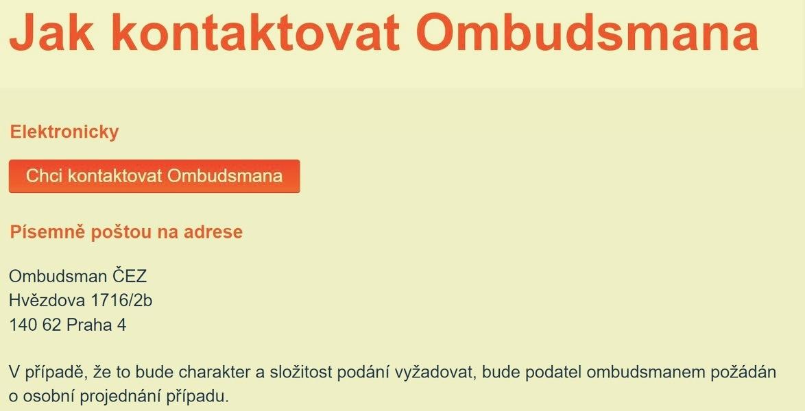 jak kontaktovat ombudsmana zdroj: ČEZ