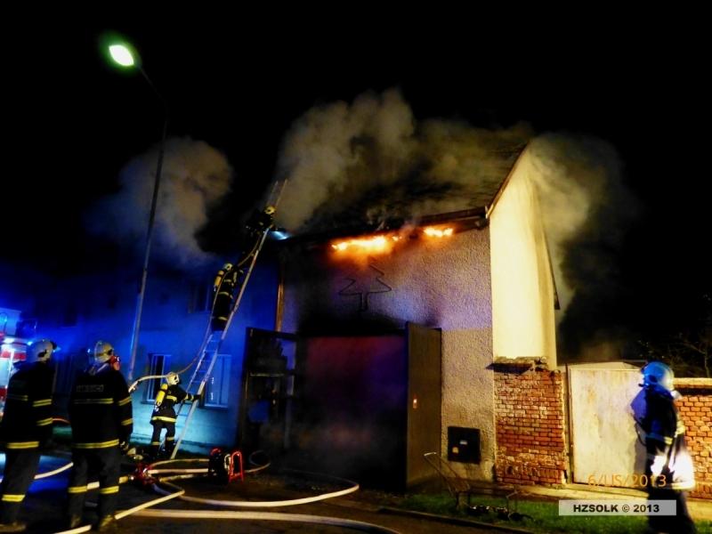 Požár domku v Bochoři