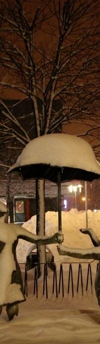 sníh s deštníkem